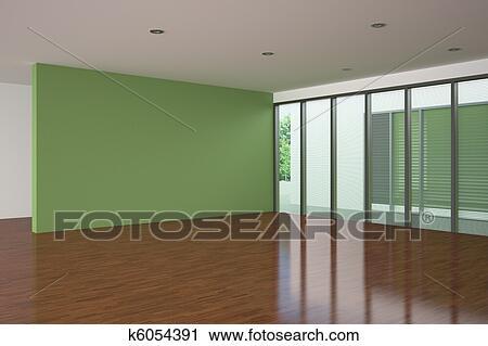Clipart - hippe, lege, woonkamer, met, groene muur k6054391 - Zoek ...