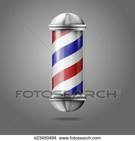Old fashioned vintage silver, glass barber shop pole with ...