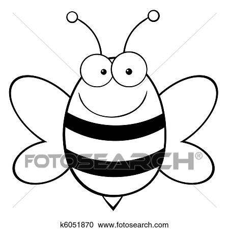 Outlined Happy Bee Clipart K6051870