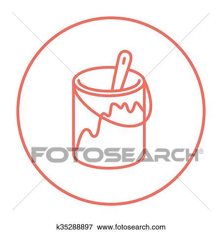 Clip Art - pincel, en, el, pintar la lata, línea, icon. k35288897 ...
