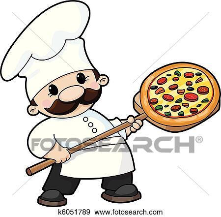 clip art of pizza chef k6051789 search clipart illustration rh fotosearch com clip art chef images clip art chefs