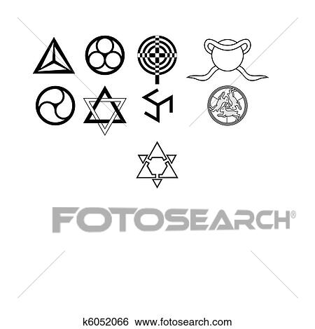 Clip Art Of Runes Occult Symbols K6052066 Search Clipart