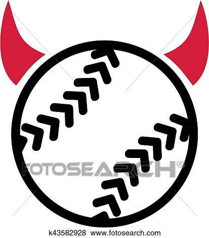 Clip Art Of Softball With Devil Horns K43582928 Search Clipart