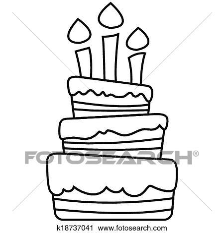 Clipart - vector, ilustración, de, torta de cumpleaños k18737041 ...