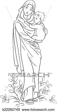 Clip Art of Virgin Mary hold baby