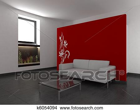 Vita moderna, stanza, con, parete rossa Archivio Illustrazioni