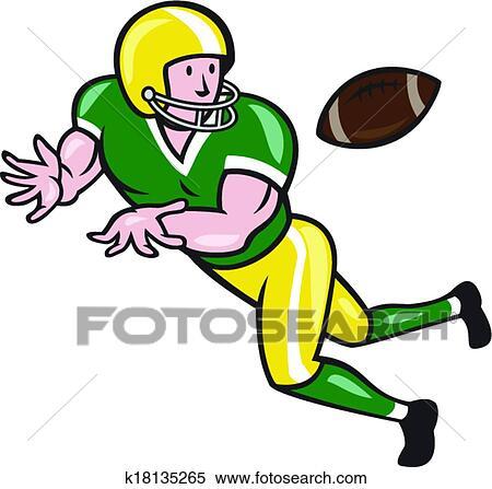 American Football Wide Receiver Catch Ball Cartoon Clipart