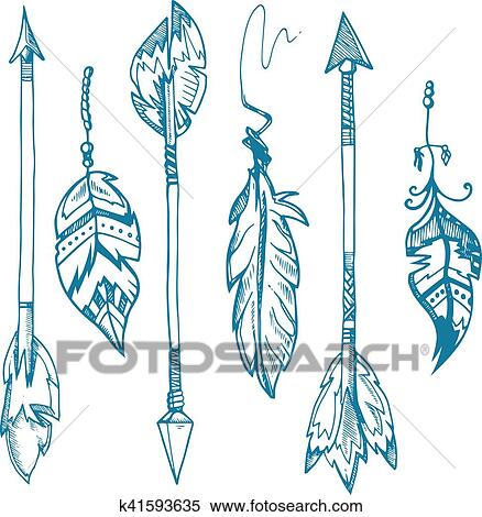 American indians feather arrows vector set, old tribal feathers hipster  decoration Clipart