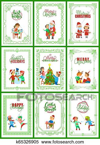 Christmas Holidays Clipart.Best Wishes On Christmas Holidays Posters Set Clipart