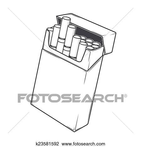 Dessin Paquet De Cigarette clipart - cigarettes, dans, a, paquet k23581592 - recherchez des