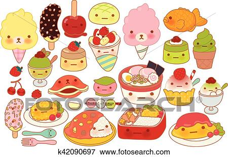 Clip Art Of Collection Of Lovely Baby Japanese Food Doodle