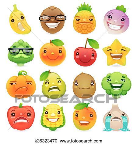 Clipart divertente cartone animato frutta verdure con for Clipart frutta