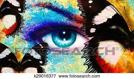 Femmes Oeil Papillon Couleur Rouille Effet Peinture Collage