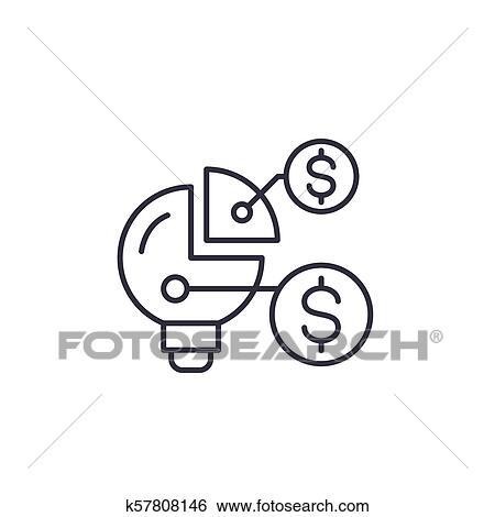 Financiero Organización Estructura Lineal Icono Concept Financiero Organización Estructura Línea Vector Señal Símbolo Illustration Clip