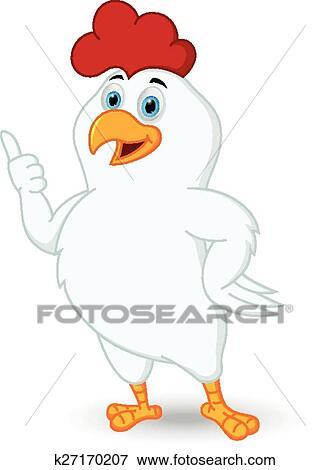 Clipart blanc poulet dessin anim pouce haut - Dessin de poulet ...