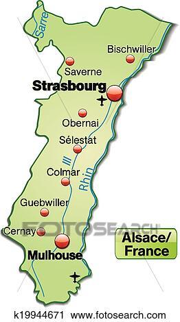 Elsass Auf Karte.Landkarte Von Elsass Clipart K19944671 Fotosearch