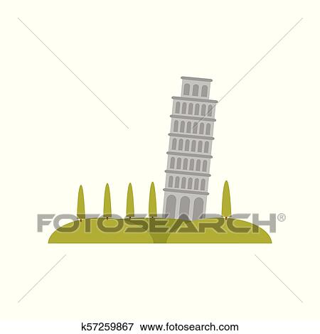 Leaning Pisa tower, green hills and trees  Famous tourist attraction  Flat  vector element for promo poster or flyer of travel agency Clip Art