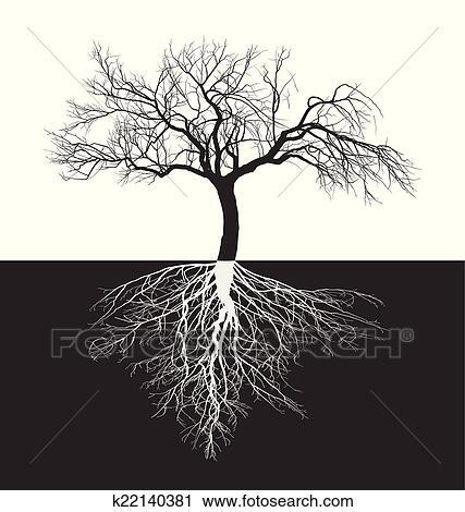 Clipart - manzano, sin, hojas, con, raíz k22140381 - Buscar Clip Art ...