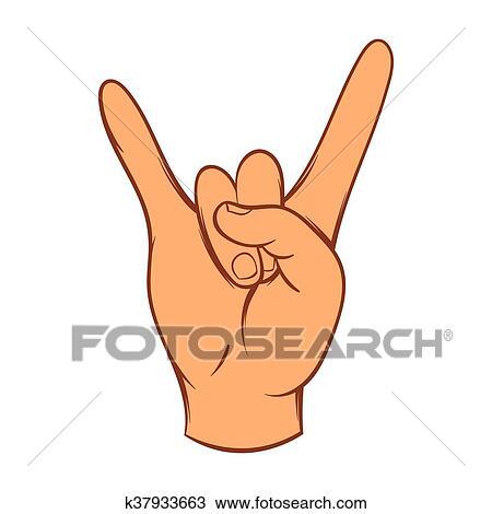Rock And Roll Signe Main Icône Dessin Animé Style Dessin
