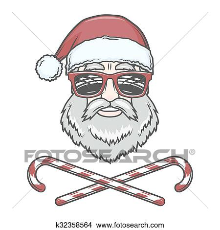 santa claus biker with candy cones and hipster glasses print design vintage disco man christmas logo insignia rock and roll new year t shirt illustration