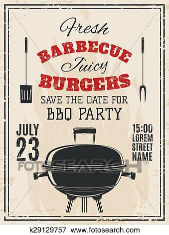 clip art of vintage barbecue party invitation k29129757 search