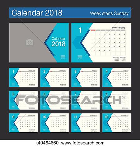 2018 calendar desk calendar modern design template with place for photo week starts sunday vector illustration