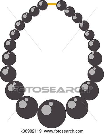 clip art of black pearl necklace bead vector illustration k36982119 rh fotosearch com pearl clip art black and white pearl clip art images