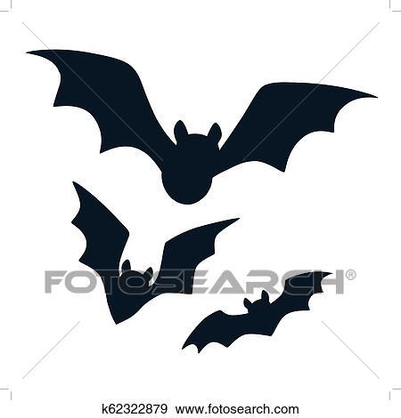 Dia Das Bruxas Pretas Morcegos Voando Silhuetas Isolado