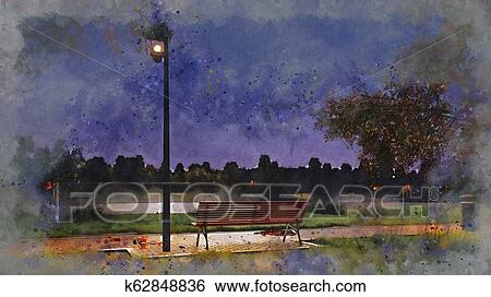 Empty Bench In Night Autumn Park Watercolor Sketch Stock