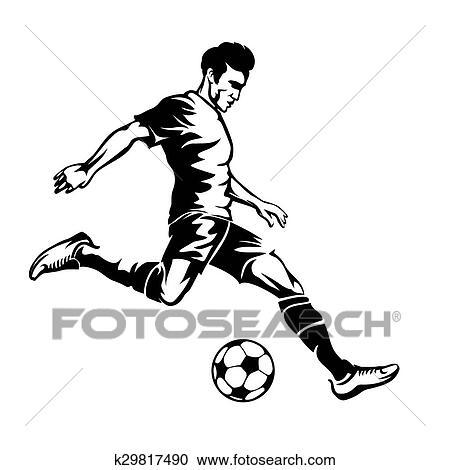 Footballspieler Mit Fussball Ball Vektor Silhouette