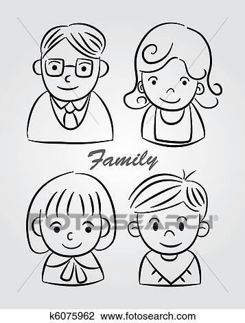 Clipart Of Hand Draw Cartoon Family Icon K6075962