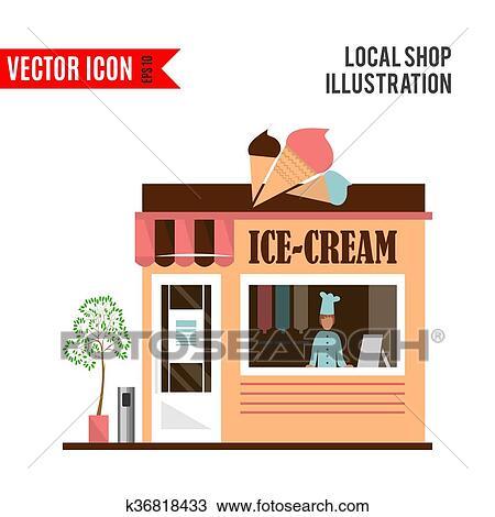 Ice Cream Detailed Flat Restaurant Icon Isolated On White Background Vector Illustration For Shop Design Pale Cafe BuildingLocal Street Market