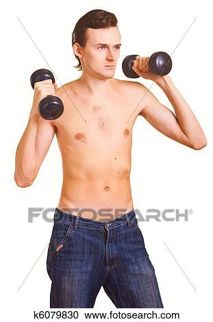 Stock Fotografie - jung, nackte männer, mit, hanteln