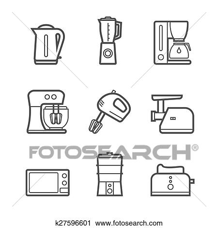Kitchen Appliances Vector Line Style Icon Set Clipart