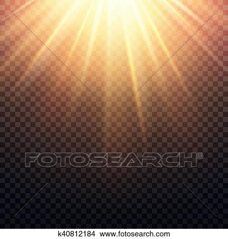 Clipart Of Realistic Transparent Yellow Sun Rays Warm Orange Flare