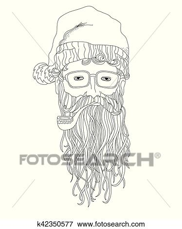 clip art santa hipster coloring page for children and adults fotosearch search