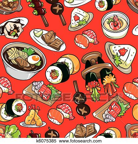 Clipart Of Seamless Japanese Food Pattern K6075385 Search Clip Art