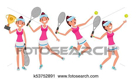 Clipart Of Tennis Player Vector Young And Healthy Players