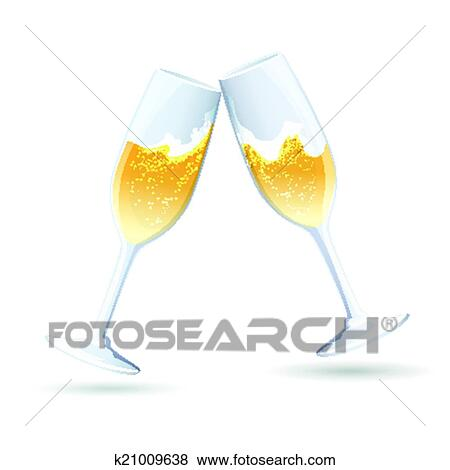 two vector flutes of golden bubbly champagne tilted towards one another in a toast and congratulations to celebrate a wedding anniversary new year