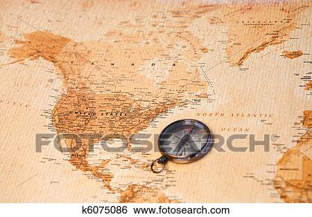 World Map With Compass Showing North America Stock Illustration K6075086