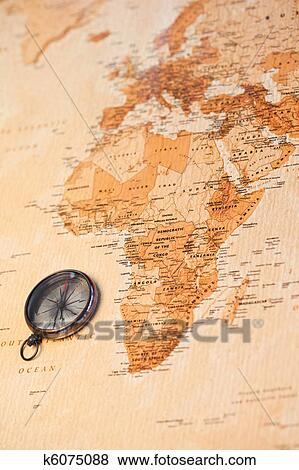 World Map With Compass Stock Illustration K6075088