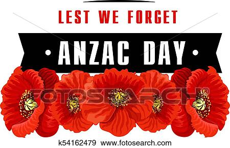 Clip art of anzac poppy flower icon with lest we forget banner anzac day poppy icon with lest we forget banner red poppy flower with black ribbon memorial card for australian and new zealand army corps remembrance day mightylinksfo