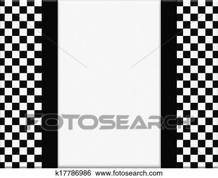 Stock Images Of Black And White Checkered Frame With Ribbon