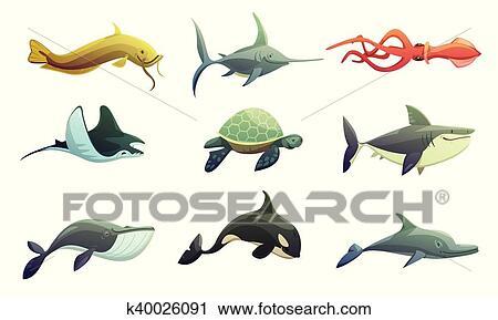 Fish Et Animaux Marins Dessin Anime Ensemble Clipart K40026091 Fotosearch