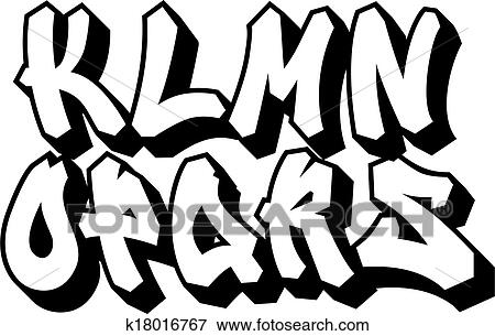 Clip Art Of Graffiti Font Type Alphabet Part 2 K18016767