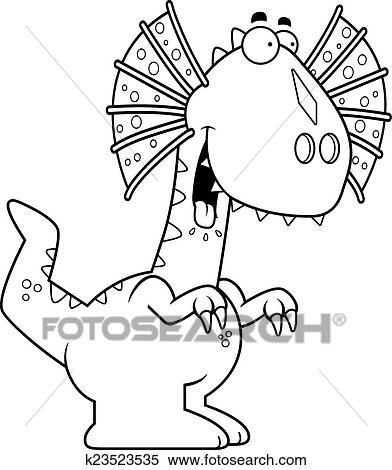 Clipart Of Hungry Cartoon Dilophosaurus K23523535