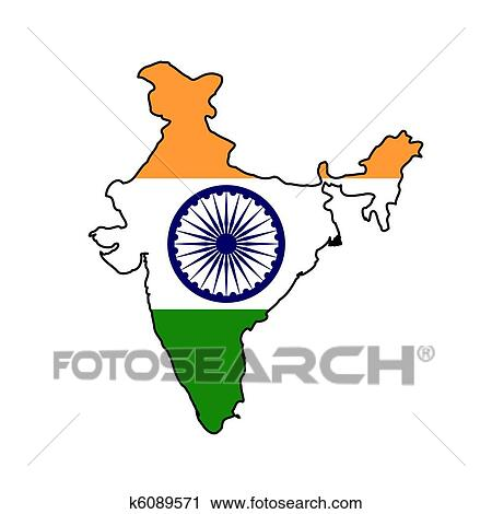 clipart of india flag on map k6089571 search clip art rh fotosearch com india clip art free indian clip art black and white