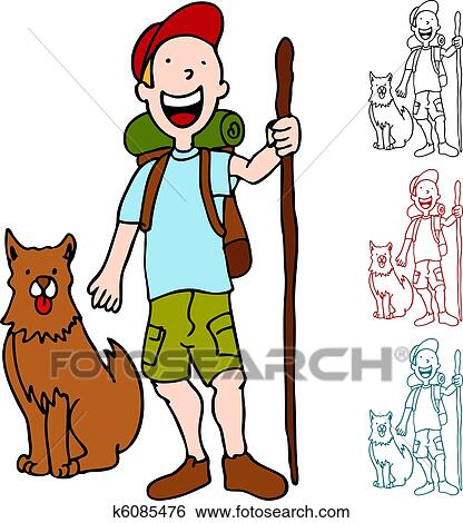 clip art of man hiking with dog k6085476 search clipart rh fotosearch com hiking clipart black and white hiking clipart free