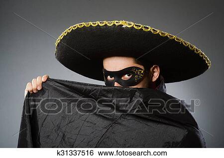 b2190114f Postava, wearing, sombrero, klobúk, do, smiešny, pojem Stock ...