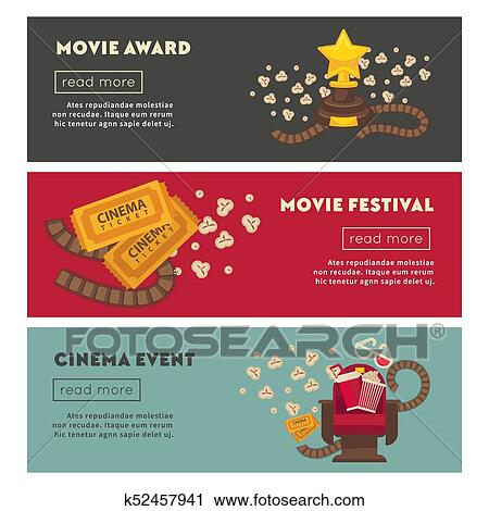 Retro Cinema And Movie Theater Posters Flat Design Template Clipart K52457941 Fotosearch